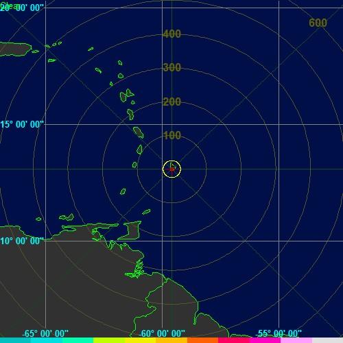 Radar de Tormentas Electricas de Barbados - / Barbados Lightning Radar -( N - W - Alt: m.s.n.m.):Cortesia:www.brohavwx.com